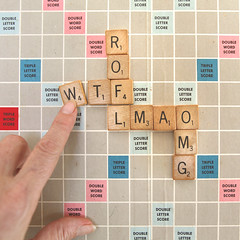 Modern Day Scrabble (YetAnotherLisa) Tags: selfportrait game squares letters scrabble wtf lmao omg rofl hcs moderndayscrabble