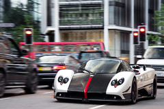 Cinque. (Alex Penfold) Tags: auto road street camera red summer white london cars alex sports car sport mobile canon photography eos photo cool flickr image awesome flash picture super spot harrods arabic exotic photograph arab spotted hyper carbon panning supercar spotting cinque  numberplate exotica sportscar zonda sportscars supercars    pagani penfold sloane   spotter 2011   knightbridge      hypercar 60d    hypercars   alexpenfold