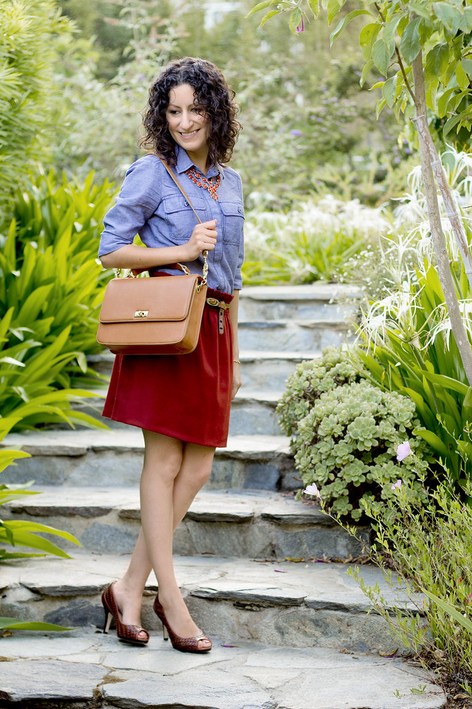 Filling in the Gaps – Ann Taylor Chambray Blouse & J.Crew Handbag