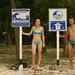 Placas alertando o risco de tsunamis