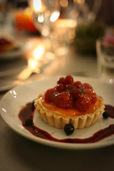 Summer berry tartlets with cassis coulis