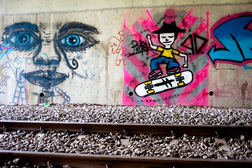 Another view of the graffiti along the tracks