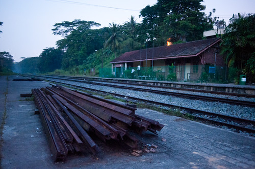 Bukit Timah Station at 645am on 10th July - now fenced up and closed.