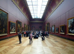 Louvre Gallery with Delacroix, Scene of the massacre at Chios; Greek families awaiting death or slavery