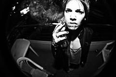 (María Granados) Tags: party blackandwhite blancoynegro fashion cigarette smoke smoking fisheye humo ojodepez