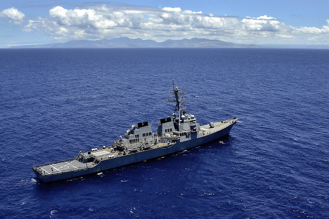 USS Russell (DDG 59) transits off the coast of Oahu, Hawaii during a scheduled underway period.