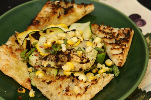 Grilled Summer Squash and Corn with Mint, Red Pepper Flakes, and Grilled Ciabatta