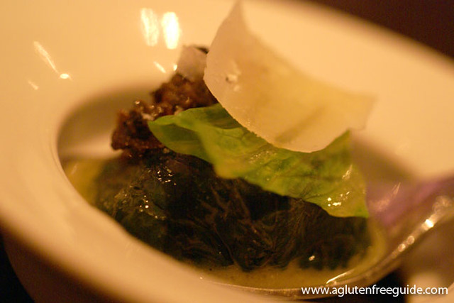 Black truffle explosion, romaine and parmesan Alinea Restaurant Chicago Gluten-Free (9)