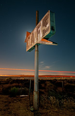 Cafe Rocks (Noel Kerns) Tags: california abandoned sign night cafe rocks desert north mojave edwards