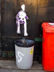 London Street Art 8 (tobysx70) Tags: canonpowershots90 canons90 canon powershot s90 digital dog trash cans urban art graffiti mural spray paint can poster wheat paste wheatpaste pasteup rubbish bins old truman brewery brick lane london e1 uk toby hancock tobyhancock