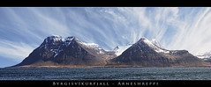 Byrgisvkurfjall - Panorama - Iceland (Arnar Bergur) Tags: ocean blue sea sky panorama white mountain snow water clouds canon landscape iceland 5d arnar sland westfjords 70200f28 rneshreppur byrgisvkurfjall visipix byrgisvk