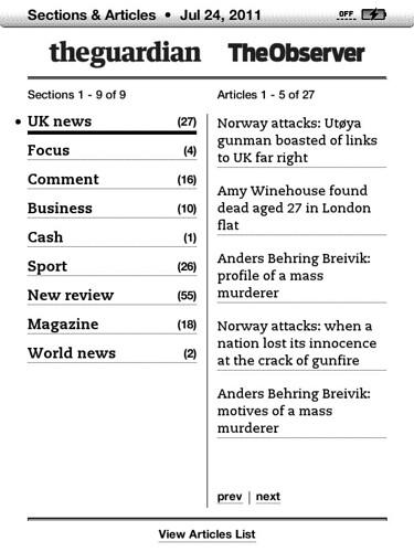 Guardian & Observer on Kindle