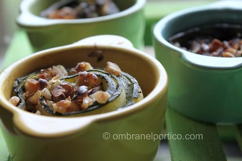 Mini cocotte zucchine, noci e crema di gogonzola