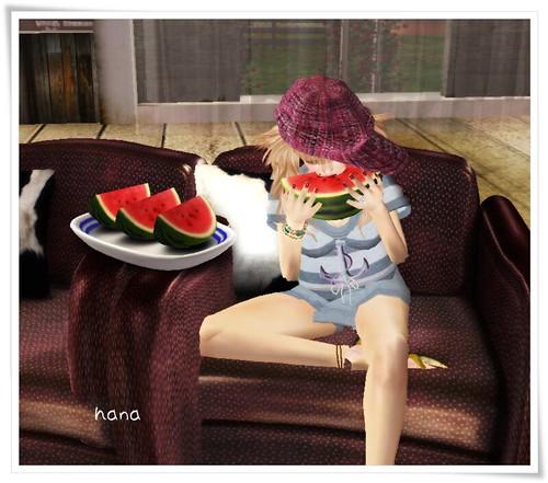 +9 watermelon 1/8 slices eat!!