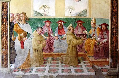 Concesión de la indulgencia, fresco en la capilla de la rosa obra de Tiberio d'Assisi.