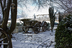Snowy cart (Homan Photography) Tags: winter newzealand sky people holiday snow cold nature landscape fun scenery lakes southisland queenstown icy arrowtown cardrona