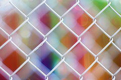 eye-candy fence (marianna armata) Tags: leica city blue red summer urban orange white canada colour green yellow fence lens happy 50mm soft candy bright quebec bokeh montreal double chain summicron link translucent transparent layered