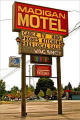Nostalgic motel sign () Tags: life road old usa west color art classic sign club america coast living photo washington tv discount cool interesting neon state image fort good military united low picture lewis motel retro example nostalgia international photograph era nostalgic americana tacoma states roadside typical googie weekly economy rca diners rates bases 253 madigan madiganmotel