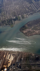 dtw approach. Down river. (beckstei) Tags: canada river landscape flying airport highway michigan detroit aerial landing utata windsor erie approach dtw downriver