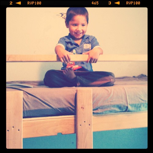 Damian excited for is new bed!