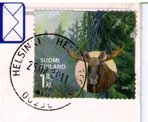 Moose braille stamp from Finland
