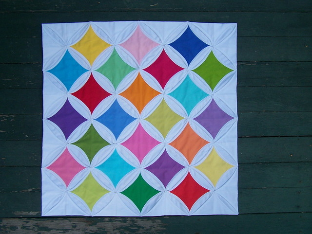 Cathedral windows mini quilt