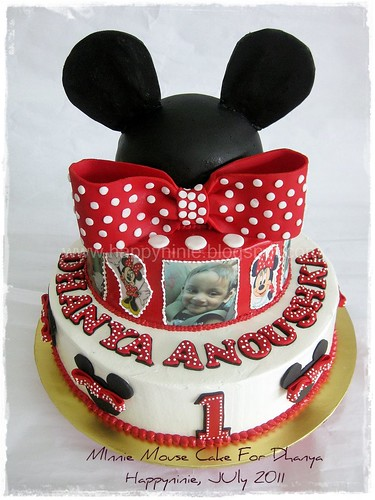 Dhanya 1st Bday.minnie mouse tiered cake