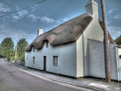 The Old Thatched Cottage Clevedon HDR (twinbowlers) Tags: old trees sun cottage sunburst hdr clevedon thatchedcottage canonpowershotg12
