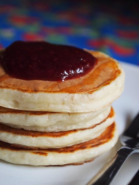 Cheesecake Pancakes with rasberry Jam