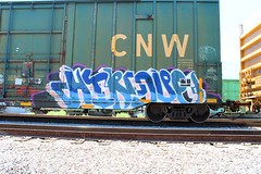 HINDUE (KNOWLEDGE IS KING_) Tags: socal graffiti paint bomb art train tracks freight yard bench railway railfan railroad rolling stock hindu hindue one gtb crew cnw northwestern boxcar panel burner gouls color fill in piece on the fly rail car