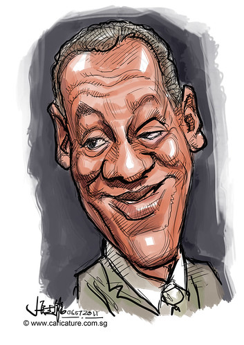 digital quick caricature colour sketch of Bill Cosby