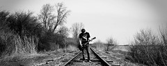 (Freak-Out) Tags: boy portrait blackwhite loneliness guitar traintracks indiana grayscale seniorpictures medaryville