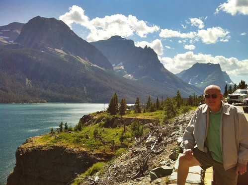 My dad by St Mary's Lake, Glacier National Park