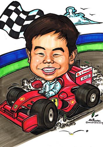 F1 racer caricature