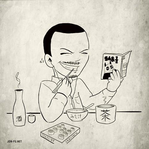 【自画】寿司屋にて