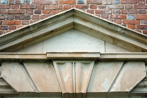 Pediment inscription at Aquia Church