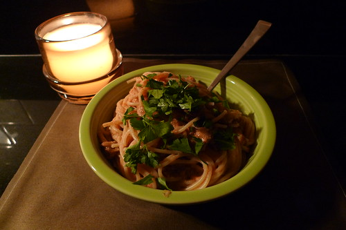 pasta with pink sauce and home-grown oyster mushrooms