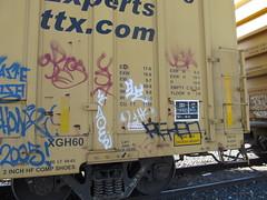 Cue (YUNGVINCE) Tags: usa graffiti bay cue trains area boxcar lib freight gros freights benching reken libk