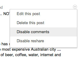 Prevent commenting on a post