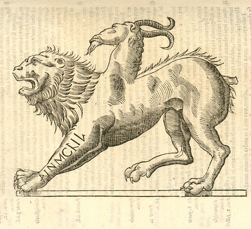 16th century woodcut of monster by Aldronvandi