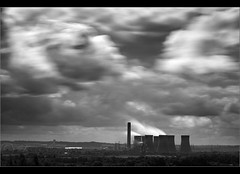 Power to the people... (Digital Diary........) Tags: chimney blackandwhite bw industry clouds movement power wind dream powerstation sthelens powertothepeople weldingglass chimneystacks