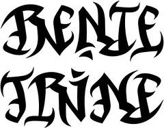 """Bente"" & ""Trine"" Ambigram"