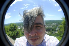 And I Ran, I Ran So Far Away (Wires In The Walls) Tags: selfportrait skyline hair wind connecticut ct wideangle fisheye summit newhaven westrock aflockofseagulls