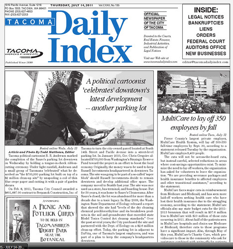 Tacoma Daily Index front page