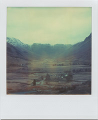 Beneath the misty mountains (Rhiannon Adam) Tags: mountains polaroid lakedistrict lancashire timezero northernengland glacialvalley sx70alpha1