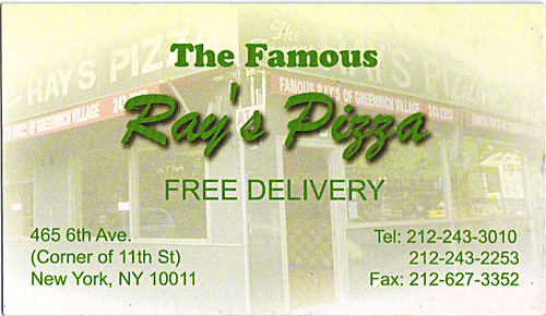 "The Famous ""Ray's Pizza"" :: Buisnesss Card  { Greenwich Village,Manhattan } ((  200x ))"