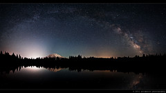 The Mask and the Mirror (Goldpaint Photography) Tags: panorama lake tree forest stars pond weed galaxy astrophotography astronomy nightsky mountshasta hammond relfection celestial starrynight milkyway shastina goldpaintphotography