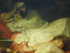 Delacroix, The Death of Sardanapalus with detail of Sardanapalus
