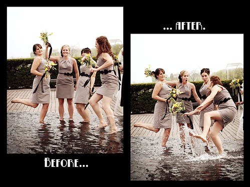 Bridesmaid vs. slippery fountain.
