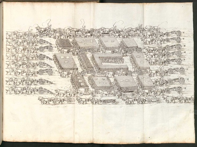 Early Modern manuscript warfare drawing -  Artilleriebuch 1582 BSB j